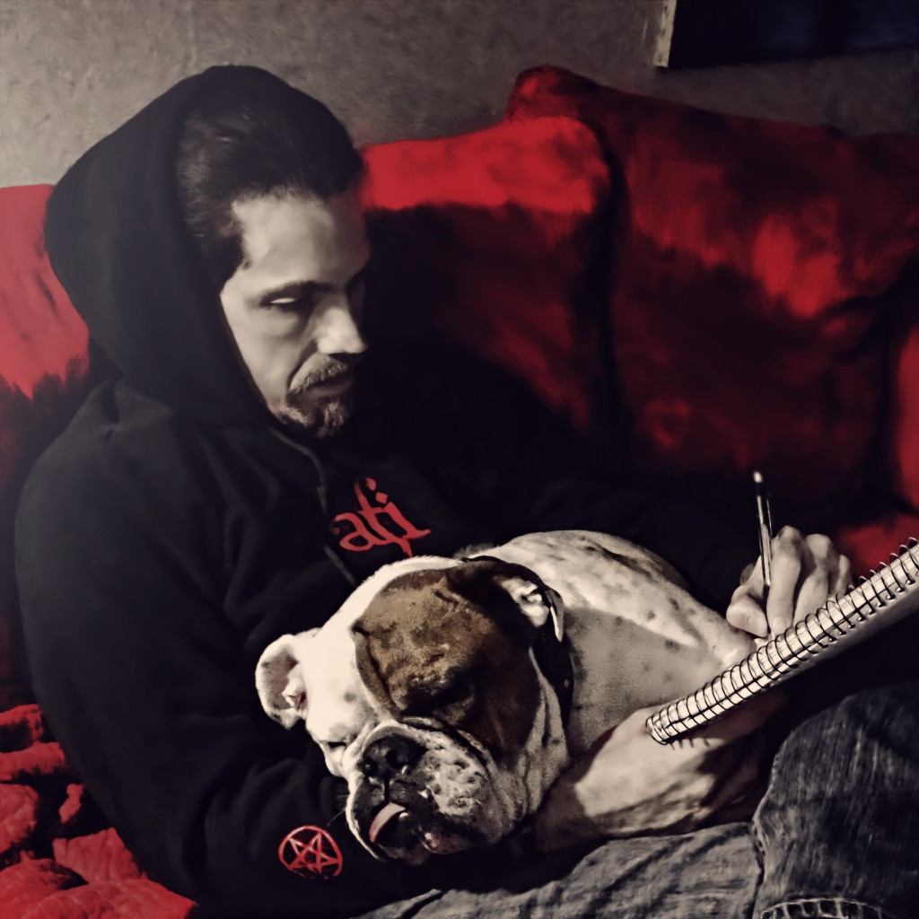 Ian Stone with his bulldog, Dexter